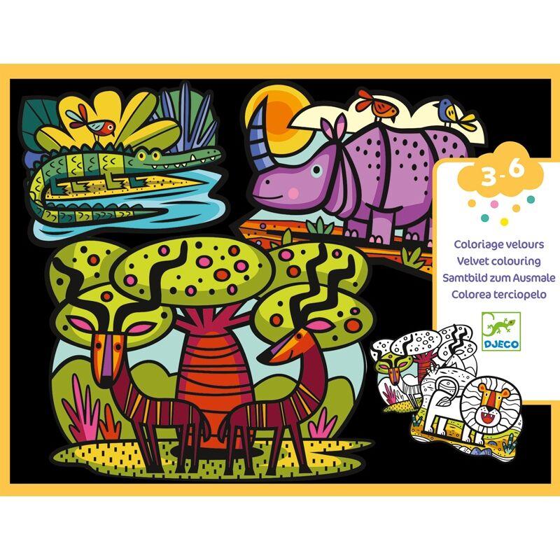 Bársonyszínező - Állatok a szavannán - Djeco kreatív készlet 3-6 éves korig