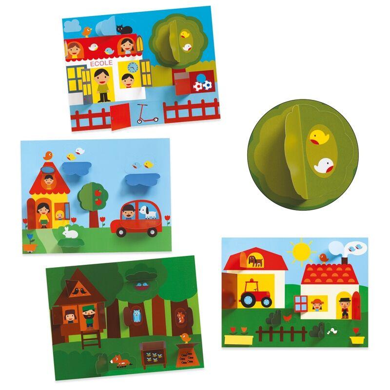 Kollázs műhely - Bújócska - Djeco kreatív készlet 3-6 éveseknek