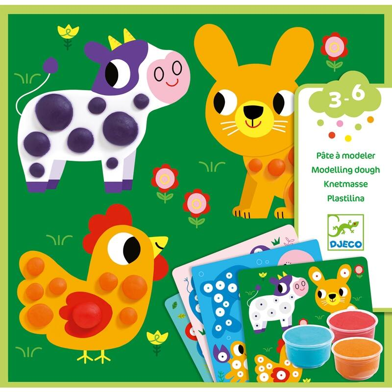 Gyurmaformázós képkészítés - Gyurma gombok - Djeco kreatív készlet 3-6 éves korig