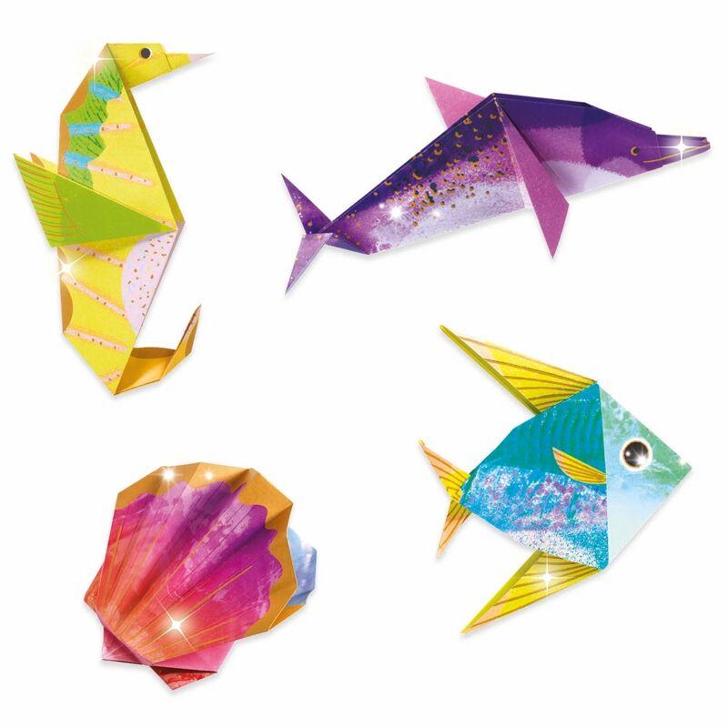 Origami Tengeri lények, Djeco hajtogatós kreatív készlet 7 éves kortól,metál