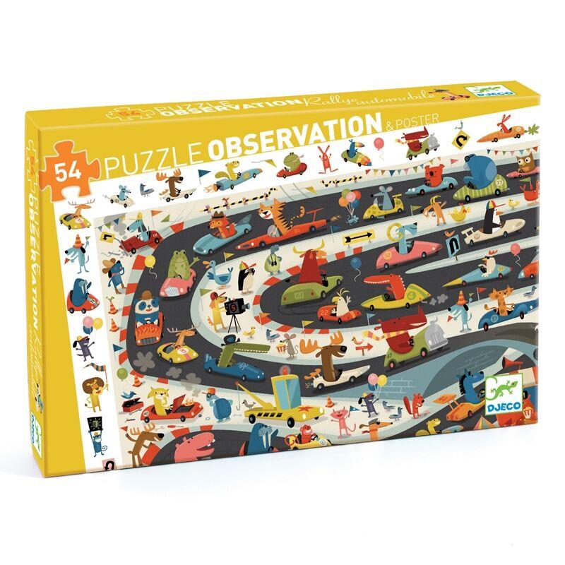 Megfigyeltető puzzle - Állati autóverseny - Djeco puzzle 4-8 éves korig