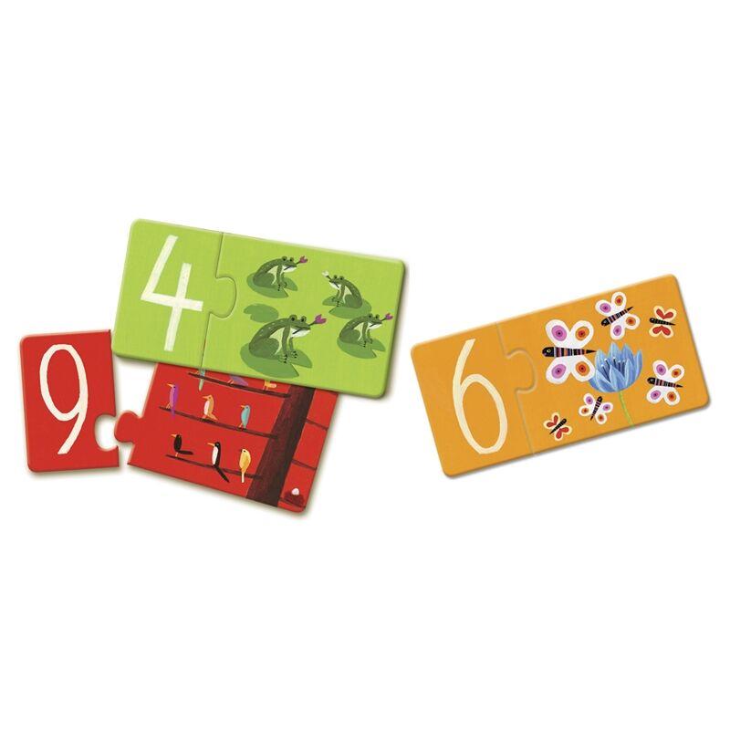 Számpárosító - 10 db-os párosító puzzle, Djeco puzzle 3-6 éves korig