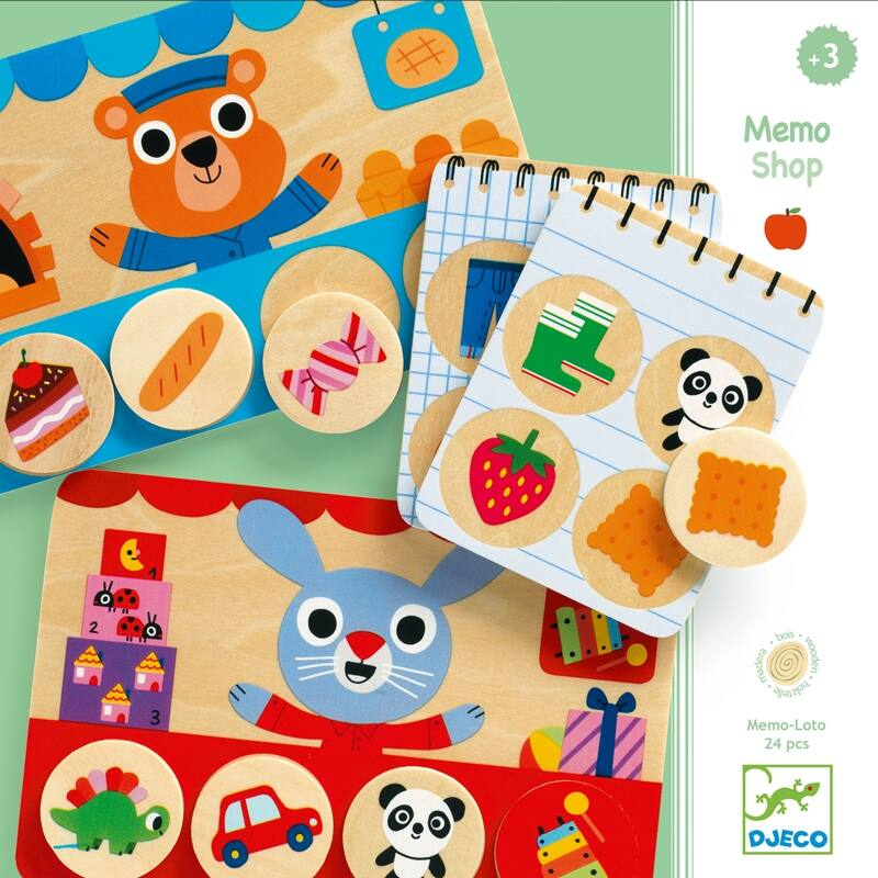 Képeslottó - Bevásárló - Memo Shop játék, Djeco fejlesztőjáték 3-6 éves korig