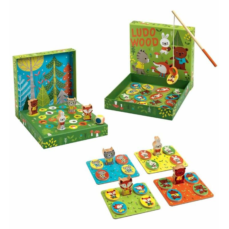 Ludo Wood - 4 játék egyben - Djeco társasjáték 2 éves kortól