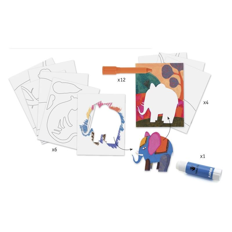 Művészeti műhely, gélpasztell - Vadállatok - Djeco kreatív készlet 8 éves kortól