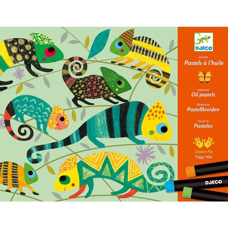 Művészeti műhely, olajpasztell - Színes dzsungel - Djeco kreatív készlet 6 éves kortól