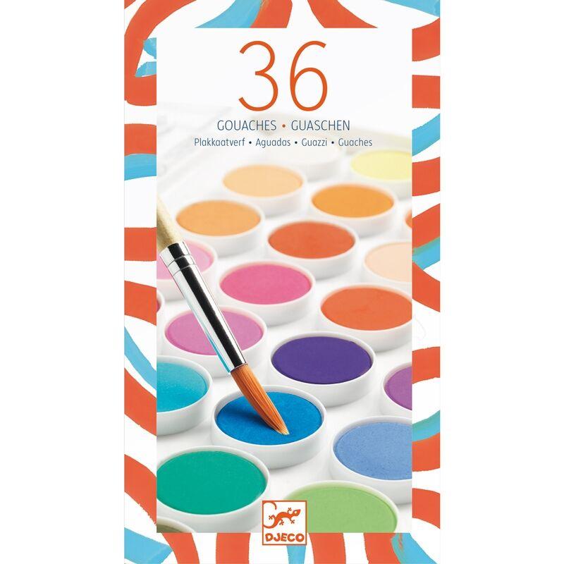 Korongos gouache festék - 36 szín - Djeco kreatív készlet 6-99 éves korig