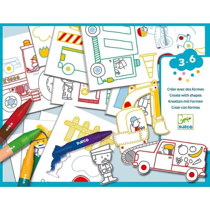 Kreatív világ, autók, Djeco kreatív készlet 3-6 éves korig