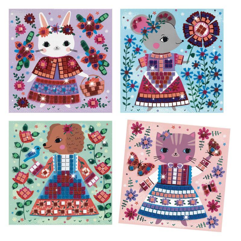 Mozaikkép készítés - Kedves háziállatok - Djeco kreatív készlet 5-8 éves korig