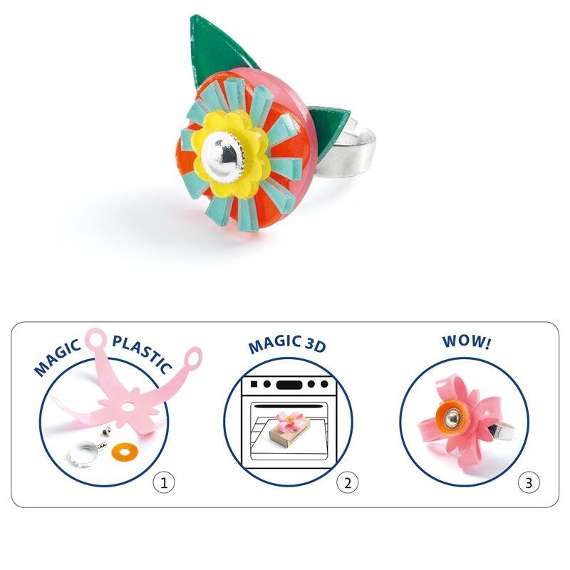 Magic plastic ékszer készítés - Gyűrük - Djeco kreatív készlet 7-13 éves korig