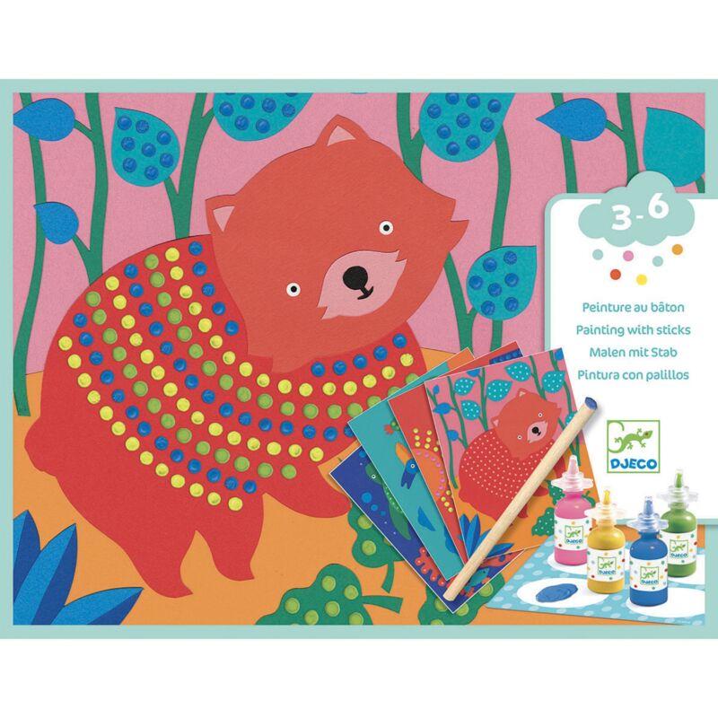Képfestés pöttyökkel - Állatok pöttymintákkal - Djeco kreatív készlet 3-6 éves korig