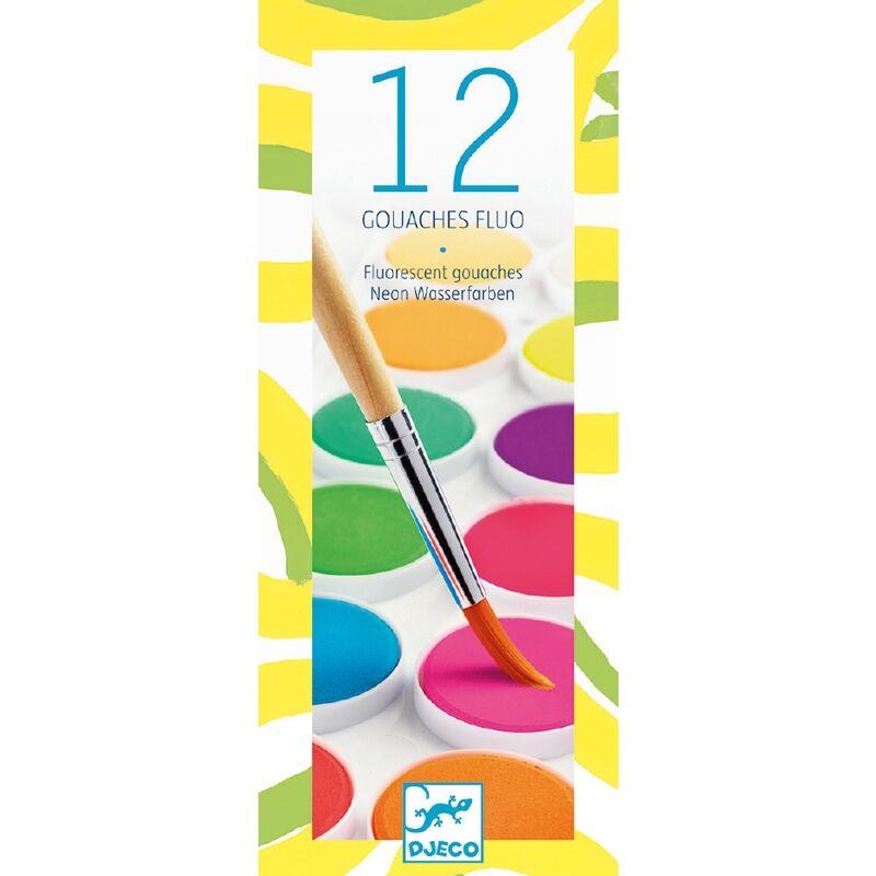 Korongos gouache festék - 12 szín, neon - Djeco kreatív készlet 4 éves kortól