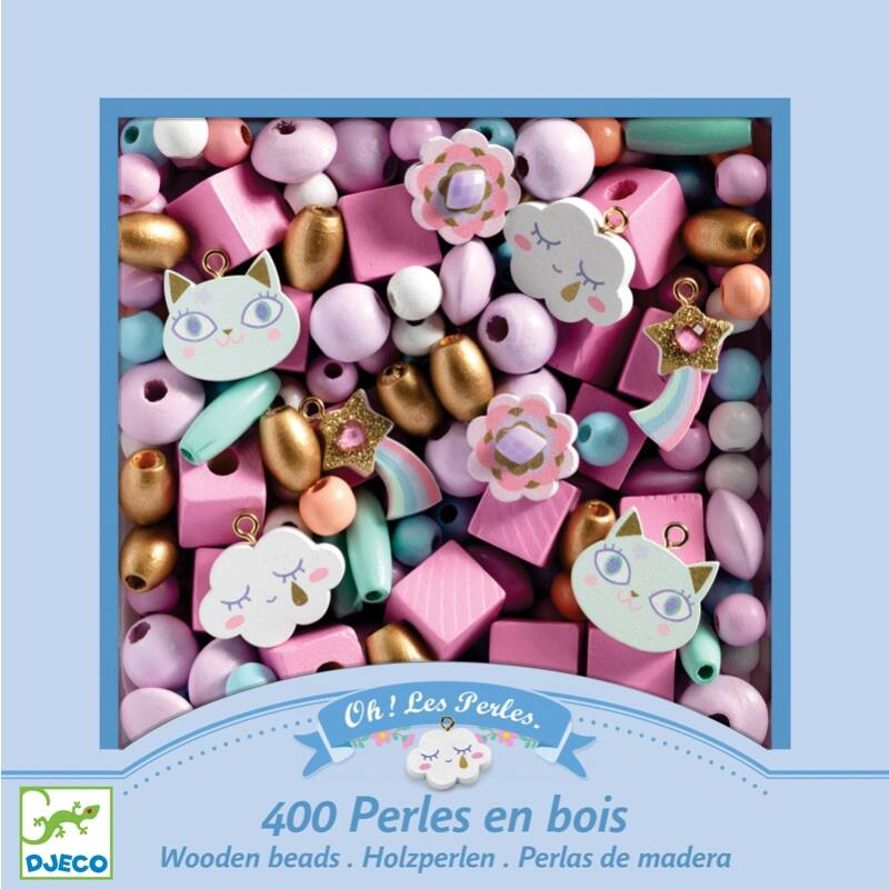Wooden beads, Rainbow, Djeco kreatív készlet 4 éves kortól