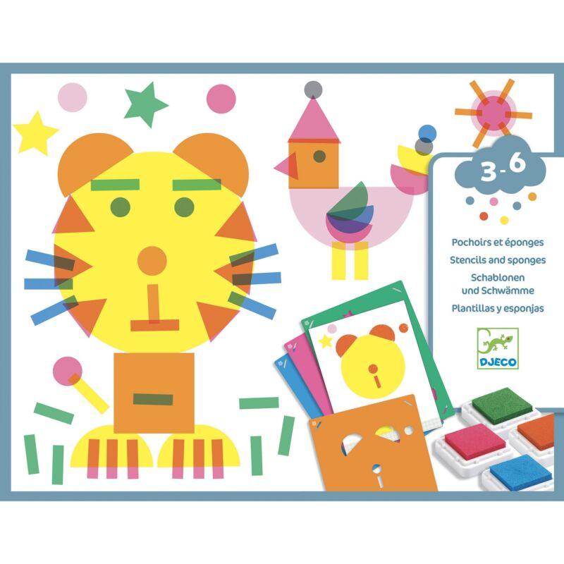 Stencil sablonos képalkotás -  Djeco kreatív készlet 3-6 éves korig