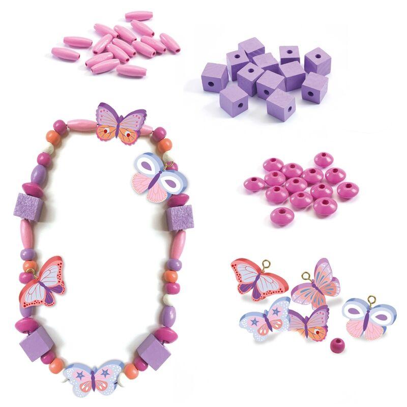 Wooden beads, pillangós ékszerkészítő készlet