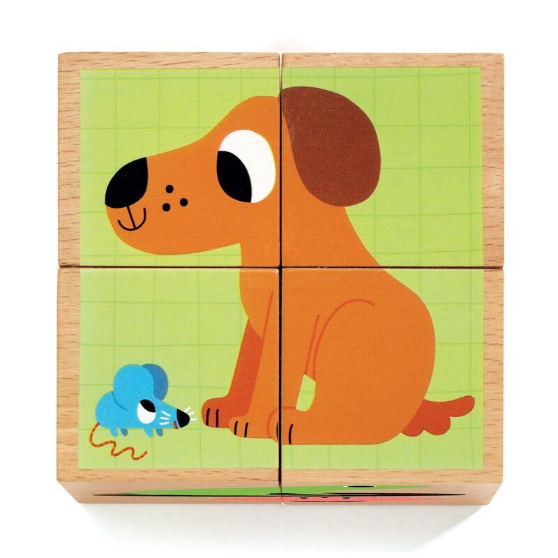 Kockakirakó - Kutyus és barátai - Djeco fa kirakó 2-4 éves korig