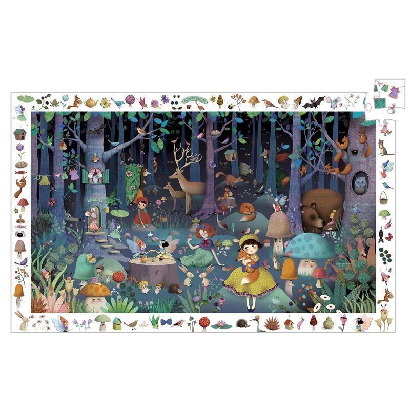 Megfigyeltető puzzle - Elvarázsolt erdő, 100 db-os, Djeco puzzle 5-10 éves korig