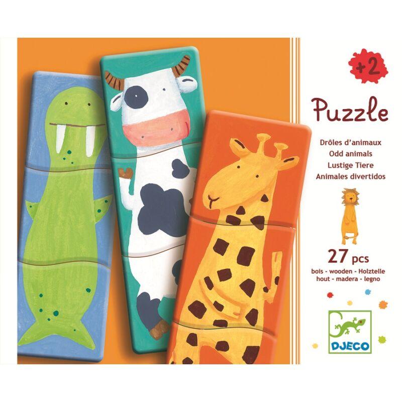 Mókás állatsereg- Djeco 3 részes puzzle fából, 2-4 éves korig
