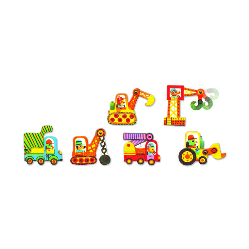 Járművek - Mozgatható puzzle - Djeco puzzle 2-4 éves korig