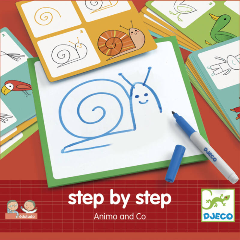 Lépésről lépésre - rajzoljunk állatokat - Djeco kreatív készlet 3-6 éves korig
