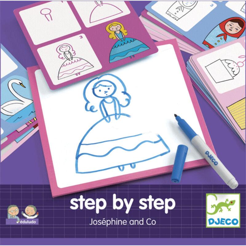 Lépésről lépésre - rajzoljunk lányos képeket - Djeco kreatív készlet 3-6 éves korig