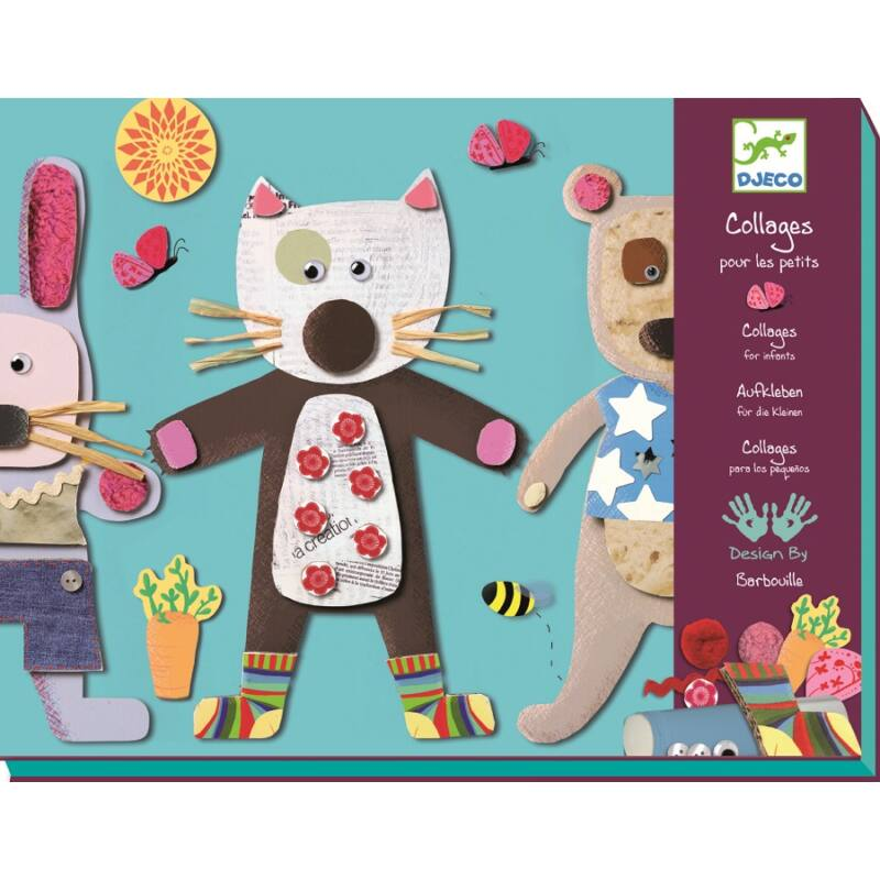 Kollázs kicsiknek - Állatképek - Djeco kreatív készlet 3-6 éves korig