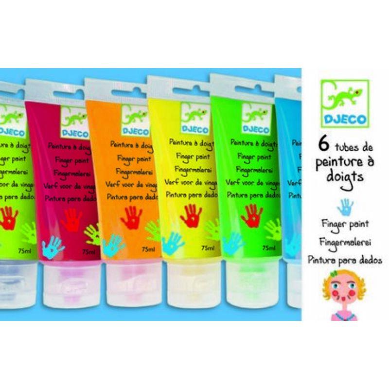 6 színű ujjfesték tubusban, palettával, Djeco kreatív készlet 2-6 éves korig