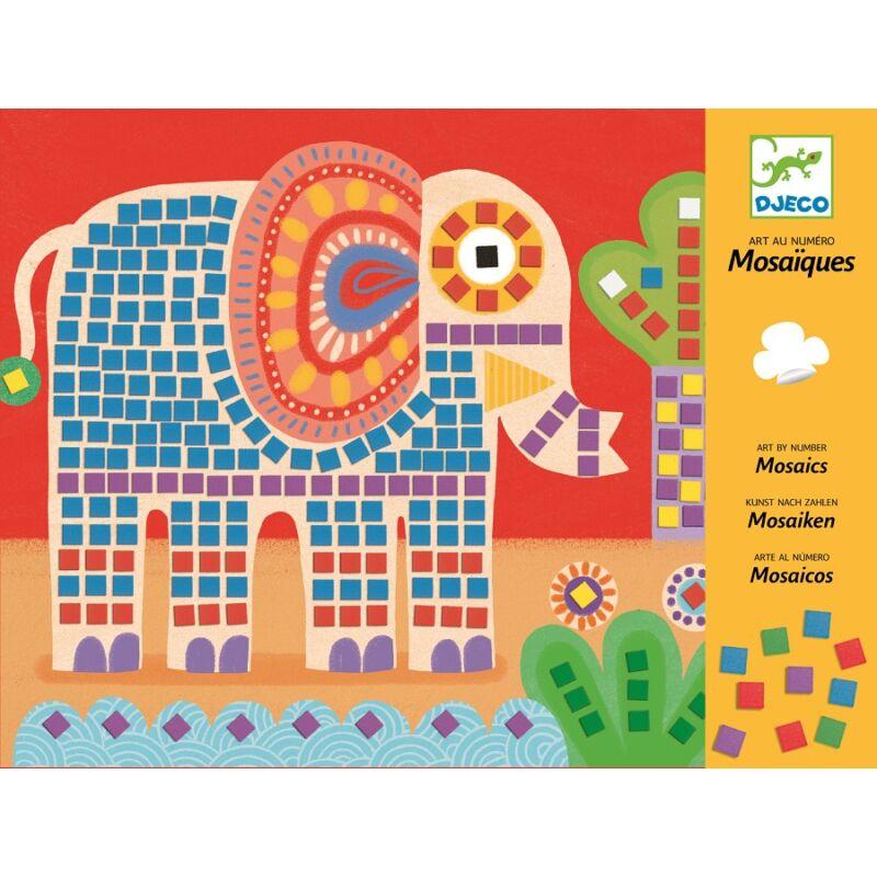 Mozaik képkirakó - Elefánt és csiga - Djeco kreatív készlet 4 éves kortól