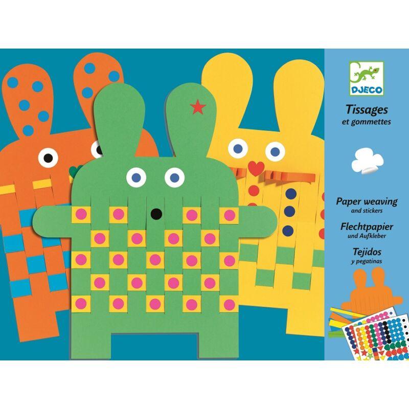 Papírszövés - Színes papírnyuszik - Djeco kreatív készlet 3-6 éves korig