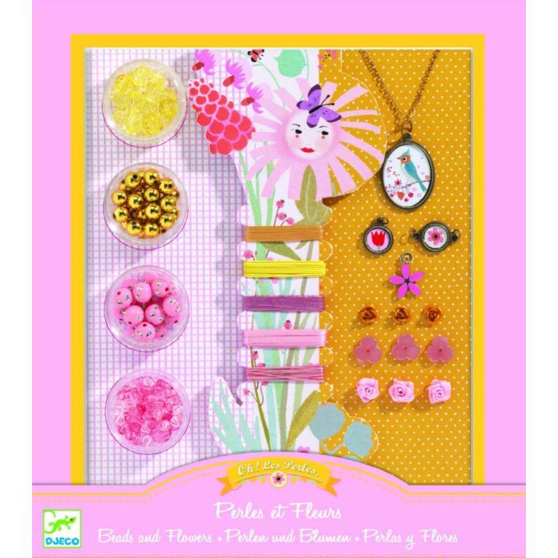 Gyöngyök és virágok - Ékszerkészítő készlet - Djeco kreatív készlet 8 éves kortól