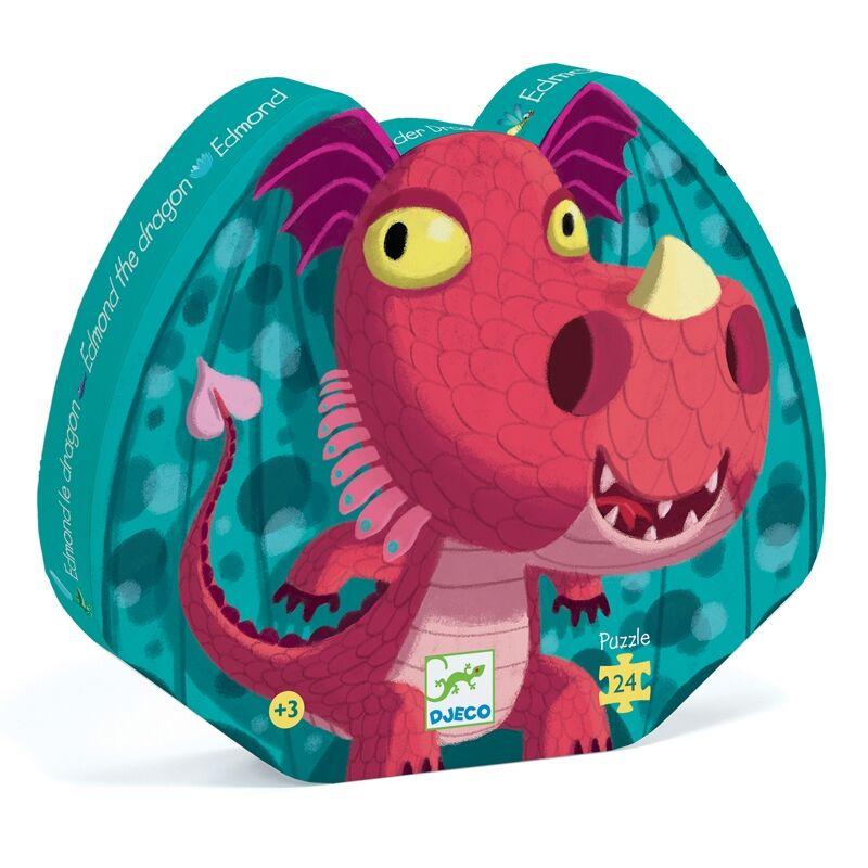Formadobozos puzzle -Edmond a sárkány, Djeco 24 darabos puzzle 3-6 éves korig
