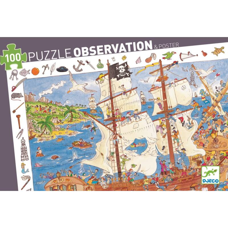 Kalózok - 100 db-os kirakó - Djeco megfigyeltető puzzle 5-10 éves korig